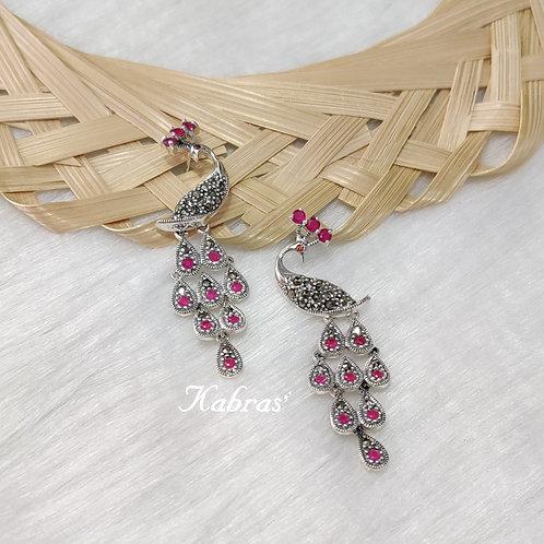 Ruby Peacock Earrings