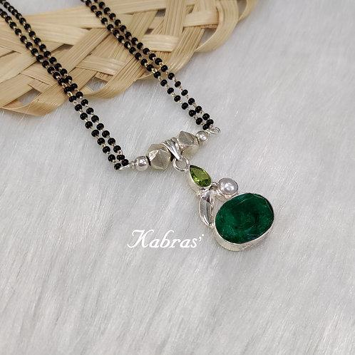 Green Onyx-Peridot Mangalsutra