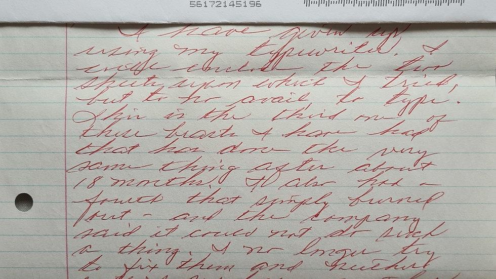 "Harvey Carignan ""Harv The Hammer"" Letter & Envelope Set"