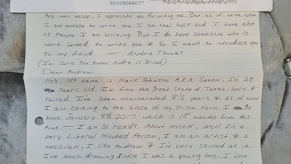 """Mark Johnson """"Seven"""" Letter"""