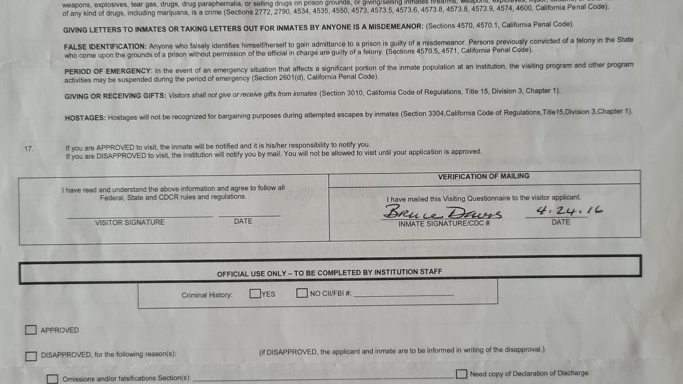 "Bruce Davis ""Manson Family"" Signed Visiting Form"