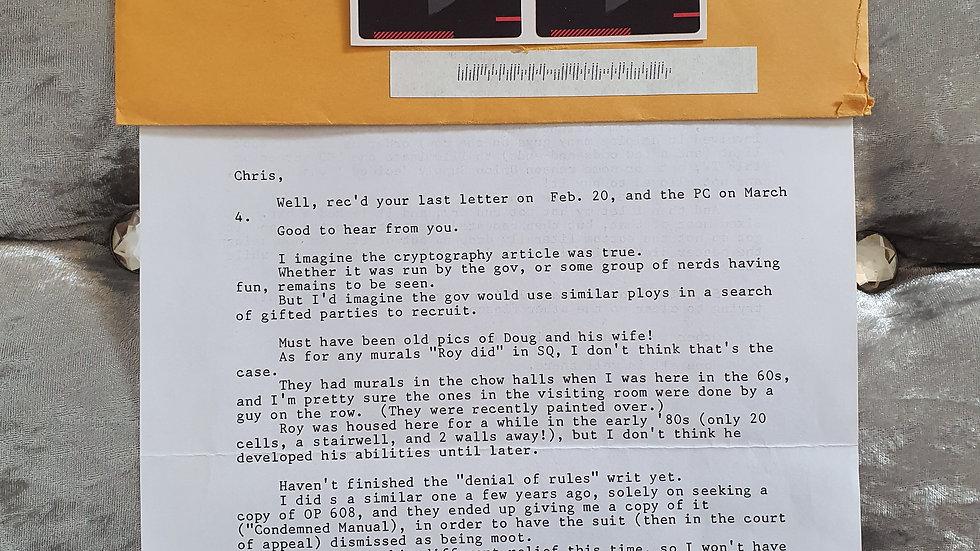 """Lawrence Bittaker """"Toolbox Killer"""" Letter"""