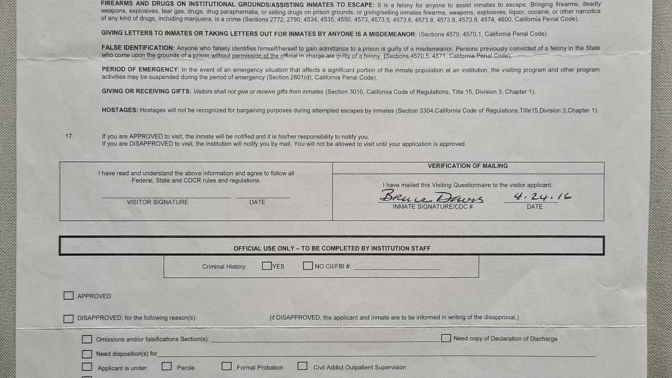 "Bruce Davis ""Manson Family Member"" Signed Visiting Form"
