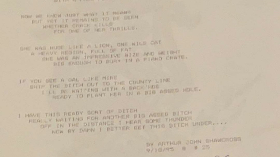 Arthur John Shawcross Signed Poem