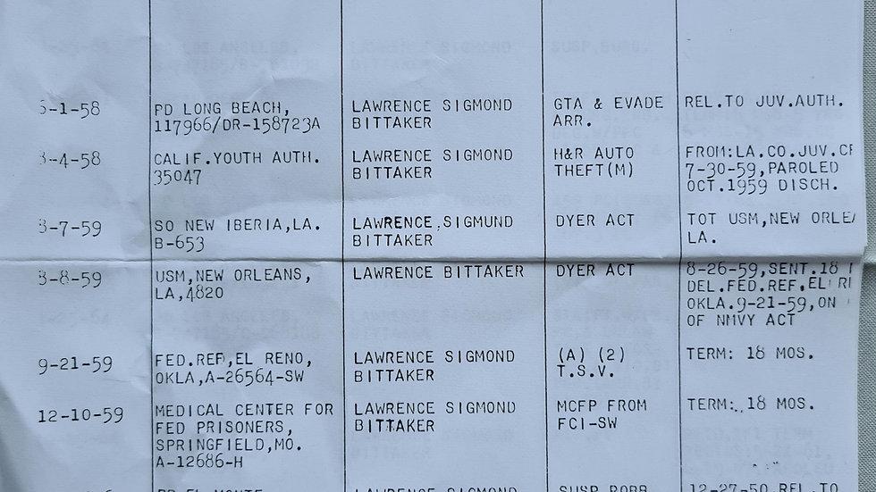 "Lawrence Bittaker ""Toolbox Killer"" Signed Criminal Record"