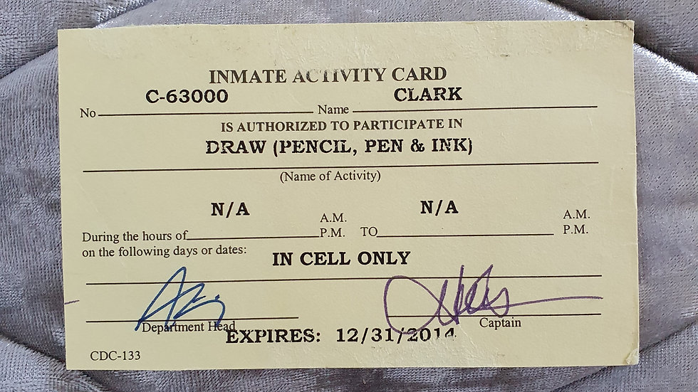 San Quentin Death Row Inmate Activity Card Signed