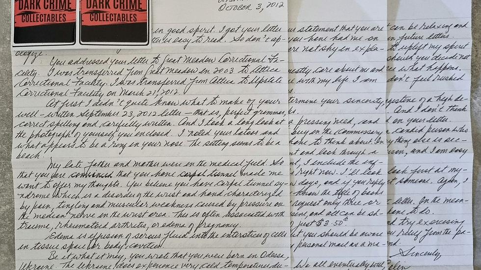 "Colin Ferguson ""Long Island Railroad Killer"" 3 Page Letter & Envelope Set"