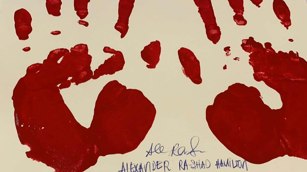 Alexander Rashad Hamilton Signed Handprints