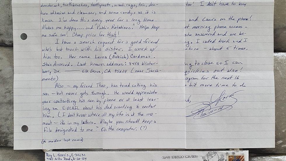 Roy Norris Letter / Original Artwork Envelope