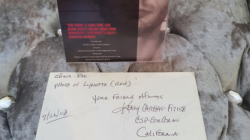 "Kenny Calihan ""Manson Friend"" Signed Photo"