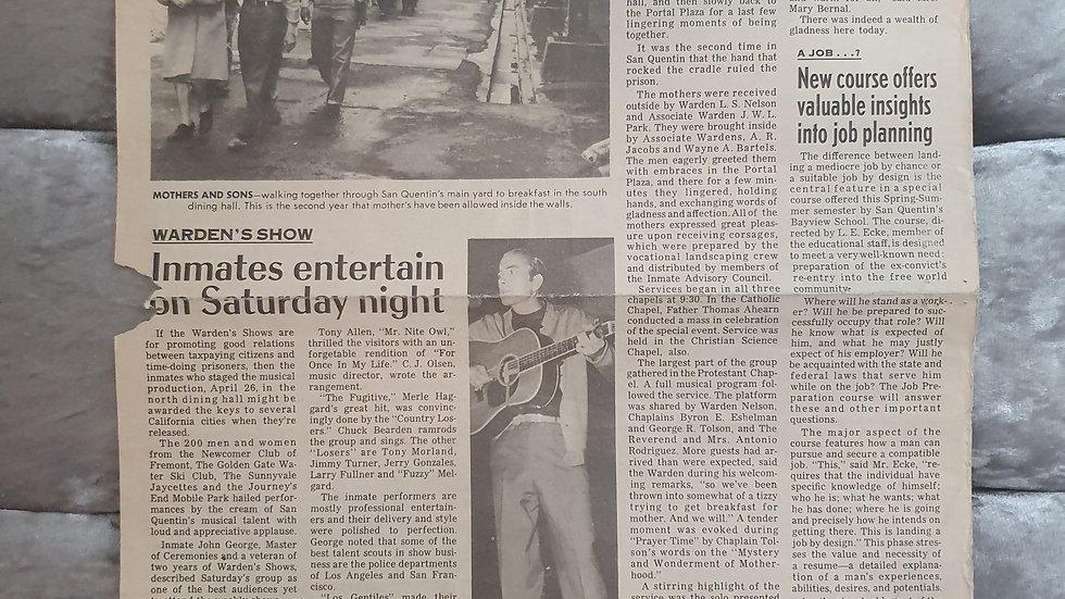 San Quentin Prison 1969 Newspaper (Rare)