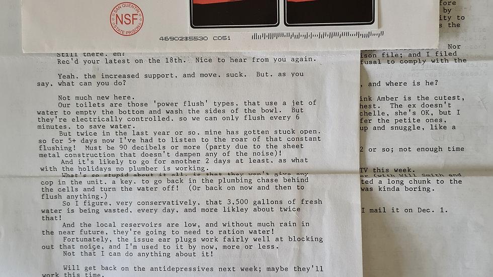 """Lawrence Bittaker """"Toolbox Killer"""" 2 Page Letter & Envelope Set"""