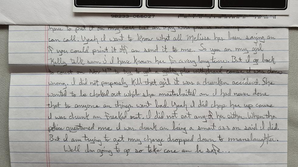 """Gregory Scott Hale """"Cannibal"""" Letter & Envelope Set"""