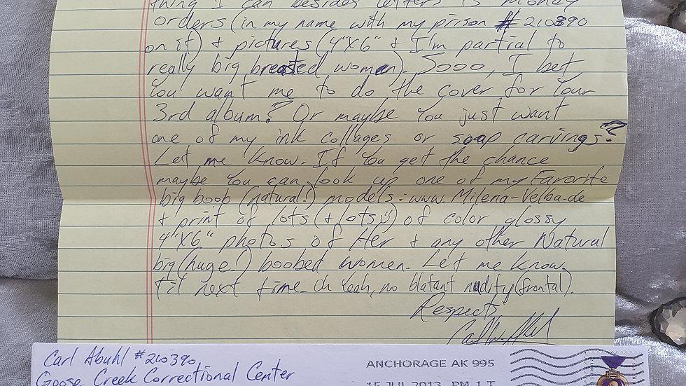 The Alaskan Killer Carl Abuhl Letter