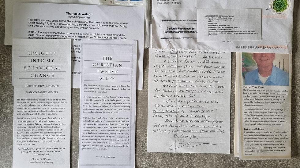 "Tex Watson ""Manson Family"" Letter Bundle"