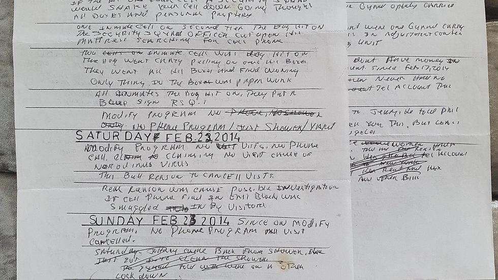 Death Row San Quentin Handwritten Diary