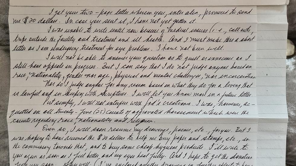"Colin Ferguson ""Long Island Railroad Killer"" 2 Page Letter"