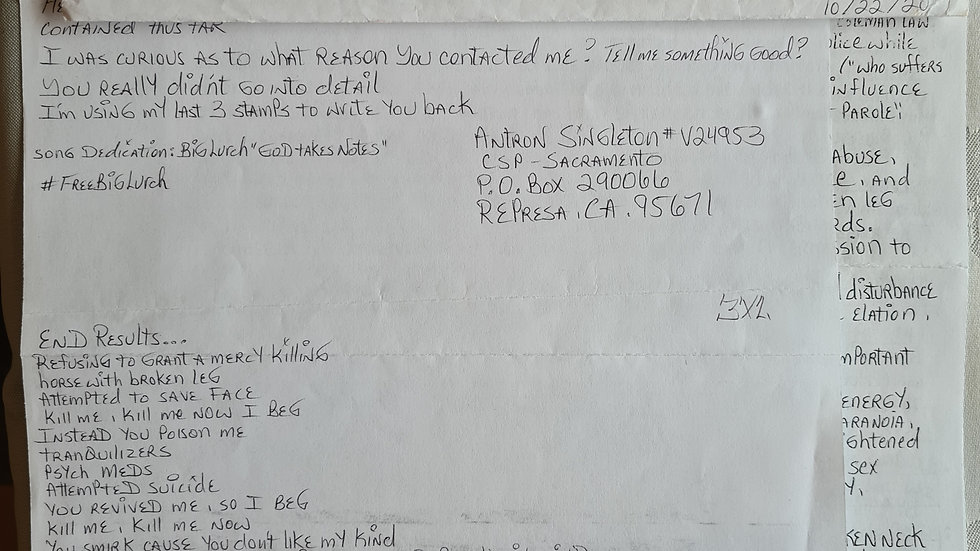 "Antron Singleton ""Big Lurch"" Letter & Envelope Set"