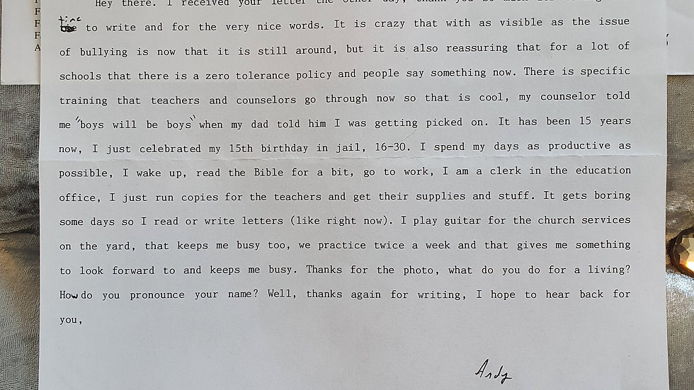 Andy Williams Letter