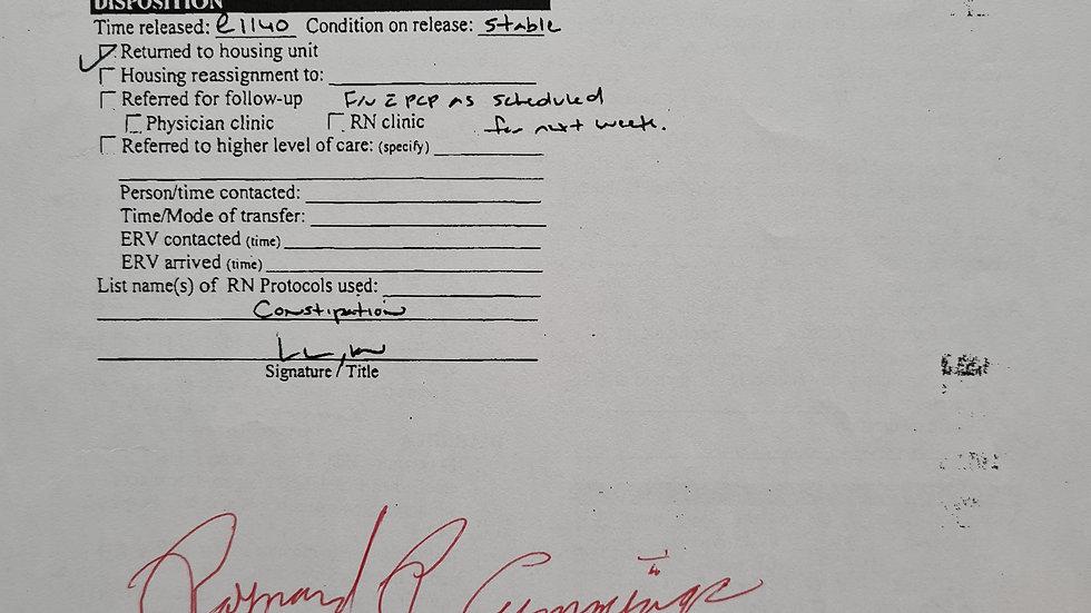Raynard Cummings Signed Medical Document