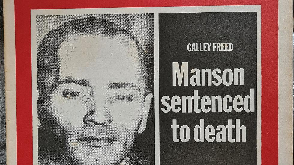 Charles Manson 1971 Newspaper