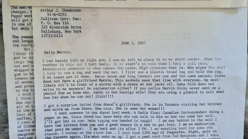 """Arthur John Shawcross """"Genesee River Killer"""" Letter"""