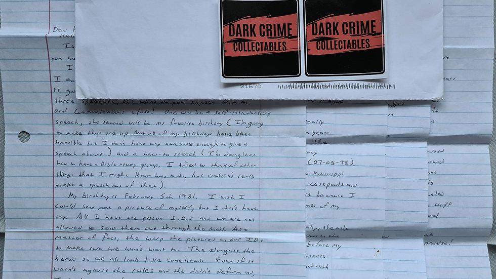 """Luke Woodham """"Pearl High School Shooting"""" 4 Page Letter & Envelope Set"""