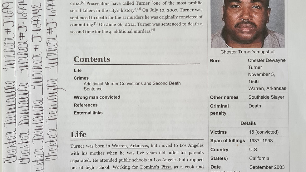 """Chester Dewayne Turner """"Southside Slayer"""" 4 Page x4 Signed Wikipedia Pages"""