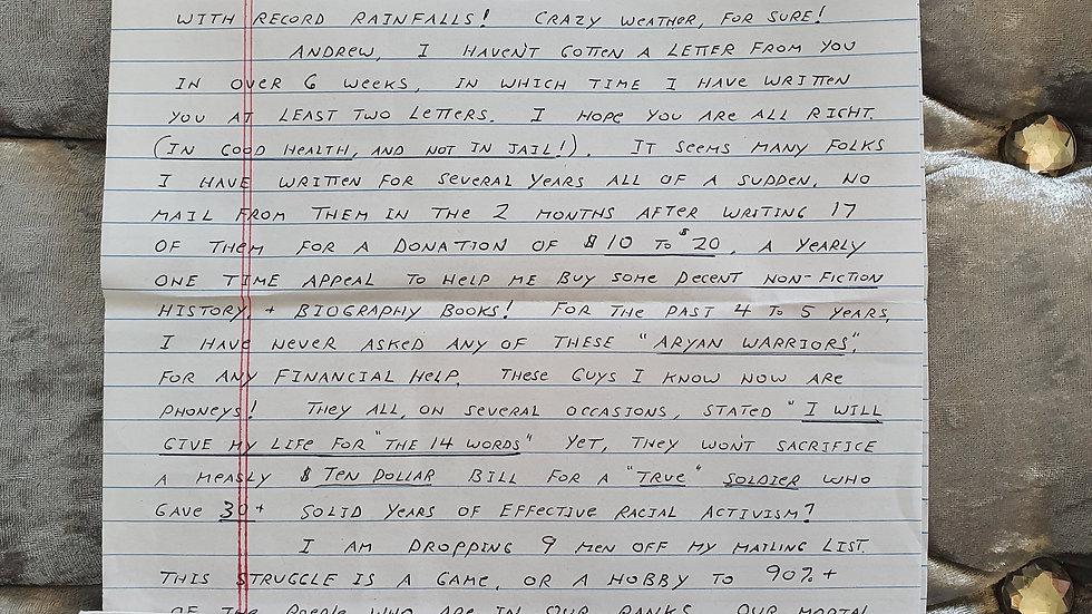 Dennis Mahon Letter