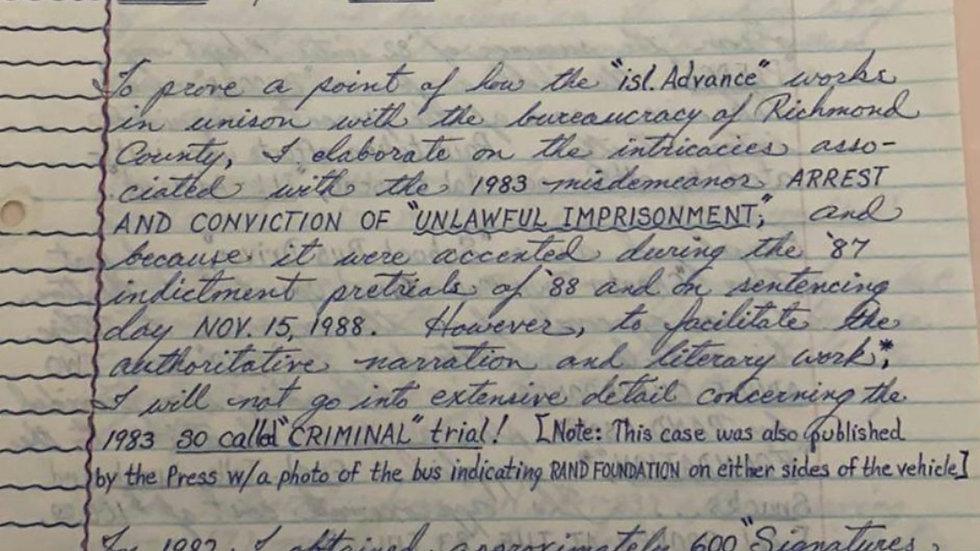 Andre Rand Handwritten Court Document