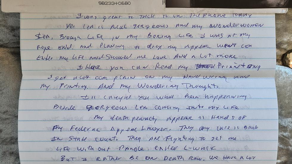 """Phillip Carl Jablonski """"Deadly Urges Killer"""" Letter"""