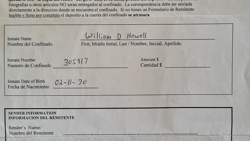 """William Devin Howell """"Sick Ripper"""" Signed Form"""