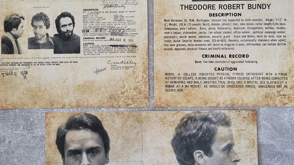Ted Bundy Reproduction Wanted Posters Set Of 3