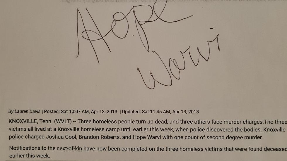 Hope Warvi Signed Sheet