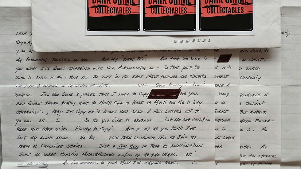Aileen Wuornos 4 Page Letter