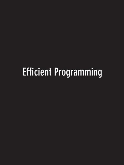 Efficient Programming