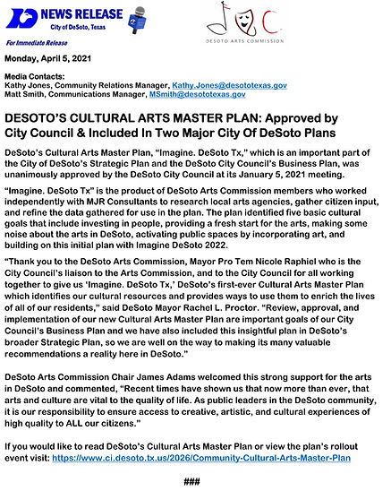 040521 DeSoto Cultural Arts Plan News Re