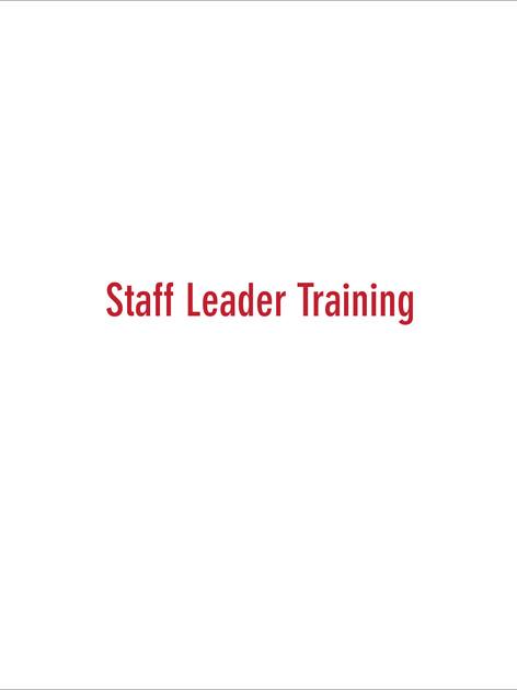Staff Leader Training