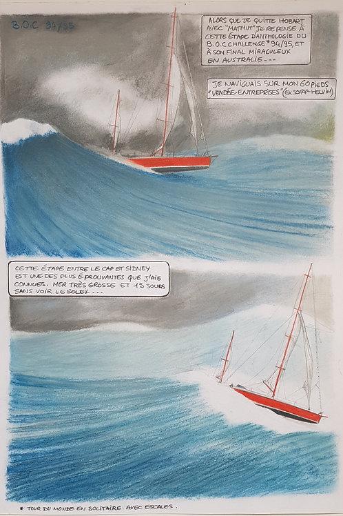 """Planche originale de la page 29 de la BD""""211 jour"""" Golden Globe Race"""