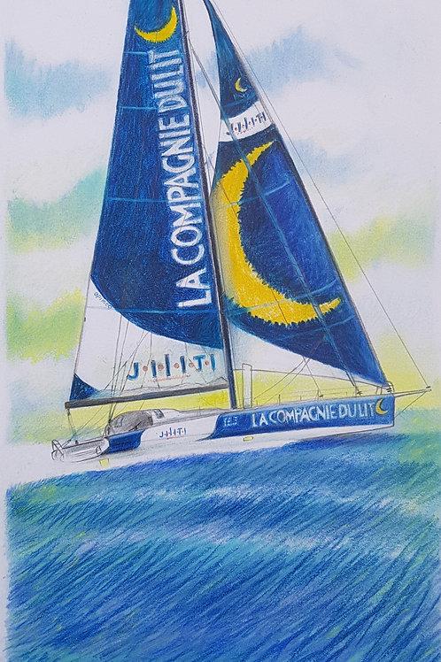 La Compagnie du Lit, Portrait de voilier du Vendée Globe 2020 Collection format 40 X20 cm reproduction