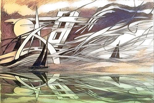"""Tirage numéroté signé """"la mer cette extra-terrestre"""""""
