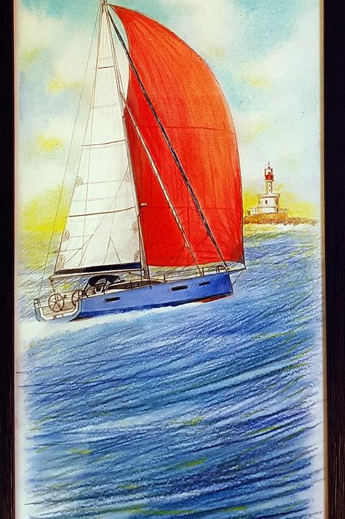 Votre voilier, portrait dessin original 40 X 20, ici un RM 12.70