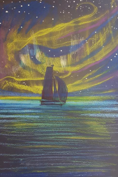 """Illustration originale réalisée pour le livre """"Yvan Bourgnon à la conquête du Nord-Ouest"""" Les aurores boréales"""