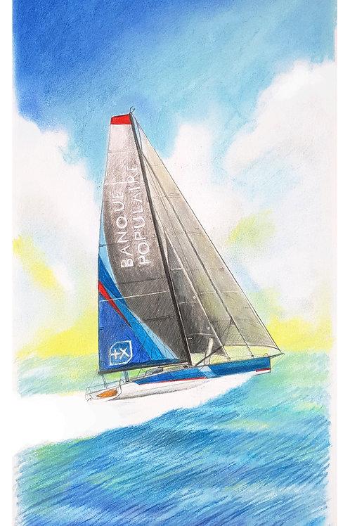 Portrait de voilier du Vendée Globe 2020 Collection format 40 X20 cm reproduction
