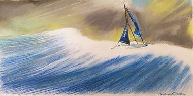 Vendée Globe 2020 Linked Out au surf reproduction 40 x 20 cm