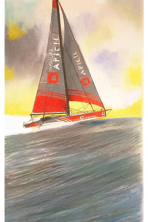 Portrait de bateau du Vendée Globe 2020 dessin original  40 x 20 cm sans cadre