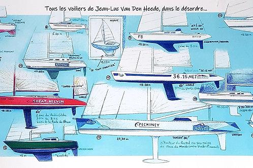 """Poster (affiche) de """"tous les voiliers de Jean-Luc Van Den Heede, format 60 x 20 cm."""