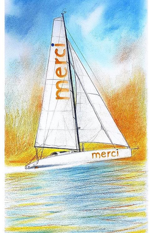 Merci, Portrait de voilier du Vendée Globe 2020 Collection format 40 X20 cm reproduction