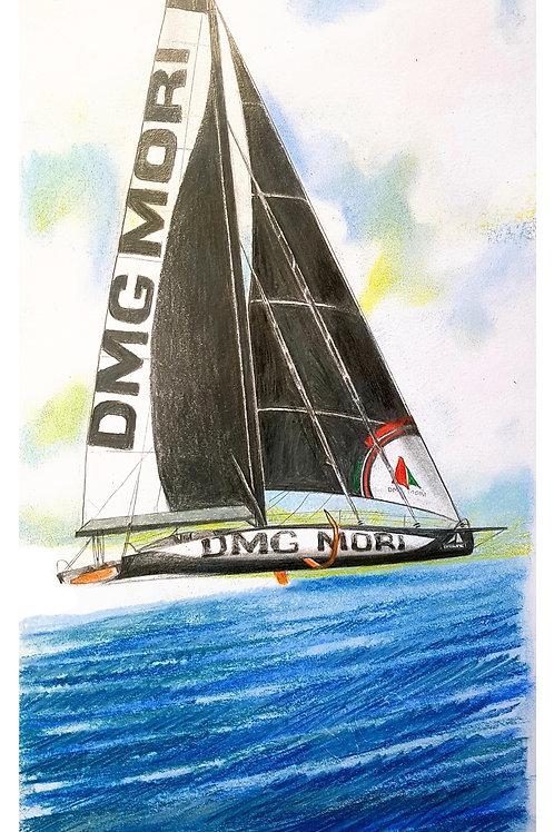 DMG MORI, Portrait de voilier du Vendée Globe 2020 Collection format 40 X20 cm reproduction