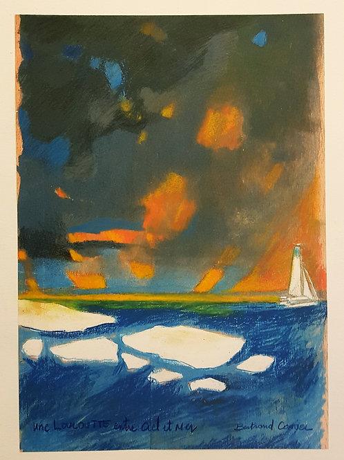 """Illustration le feu et la glace, impression retravaillée, extraite du livre """"Yvan Bourgnon à la conquête du Nord-Ouest"""""""